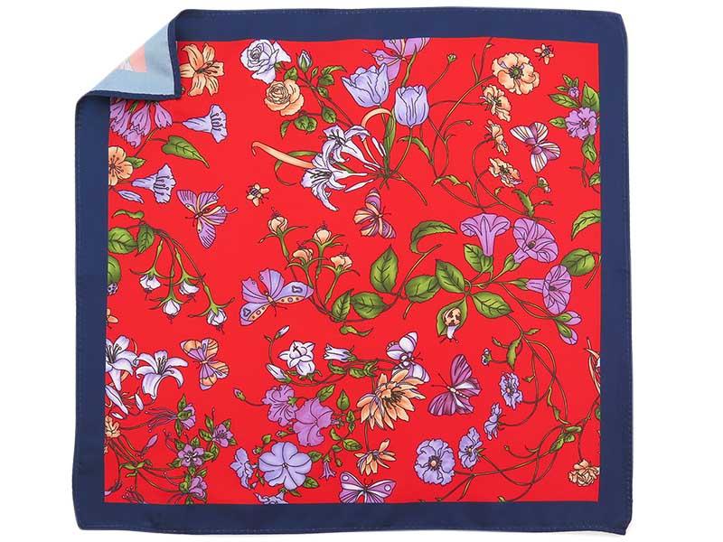 Czerwono-granatowa poszetka w kwiaty E281