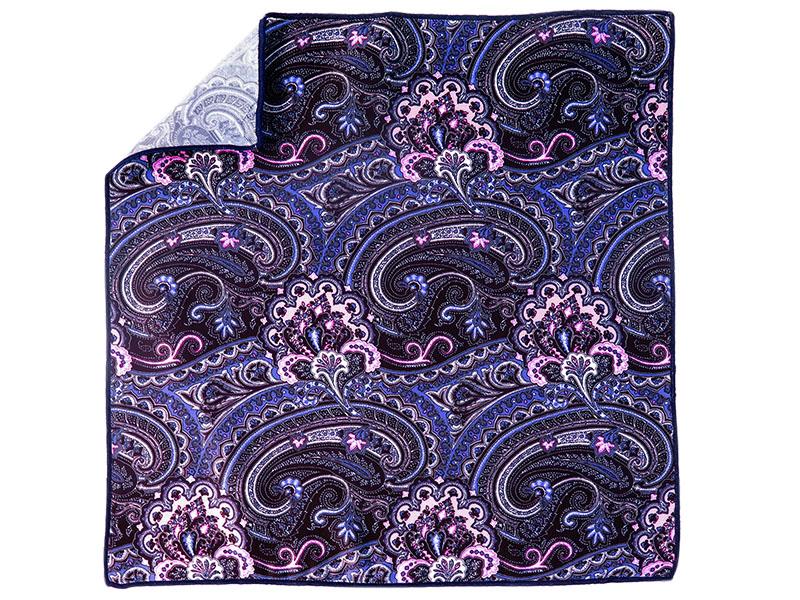 Granatowa poszetka w niebiesko-różowy wzór paisley E152