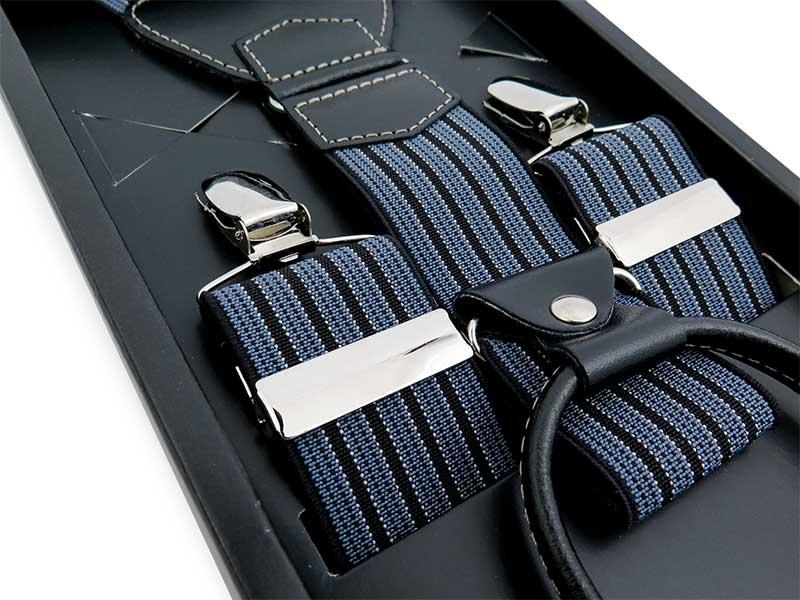 Niebiesko-czarne szelki męskie w paski SZ46