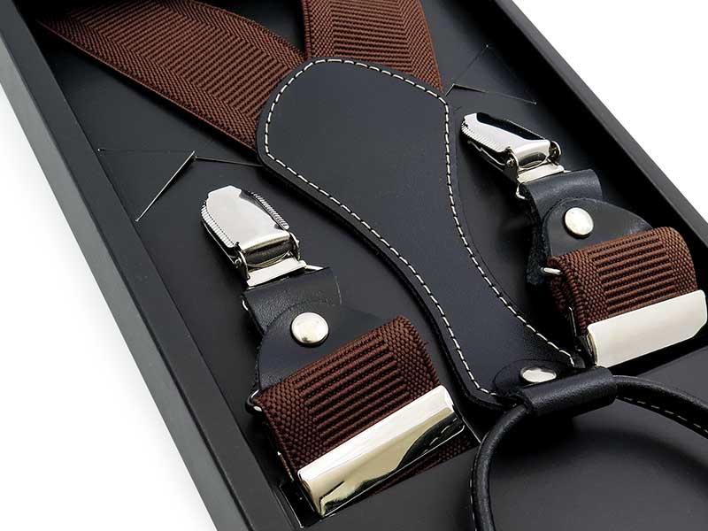 Długie brązowe szelki męskie do spodni XL112