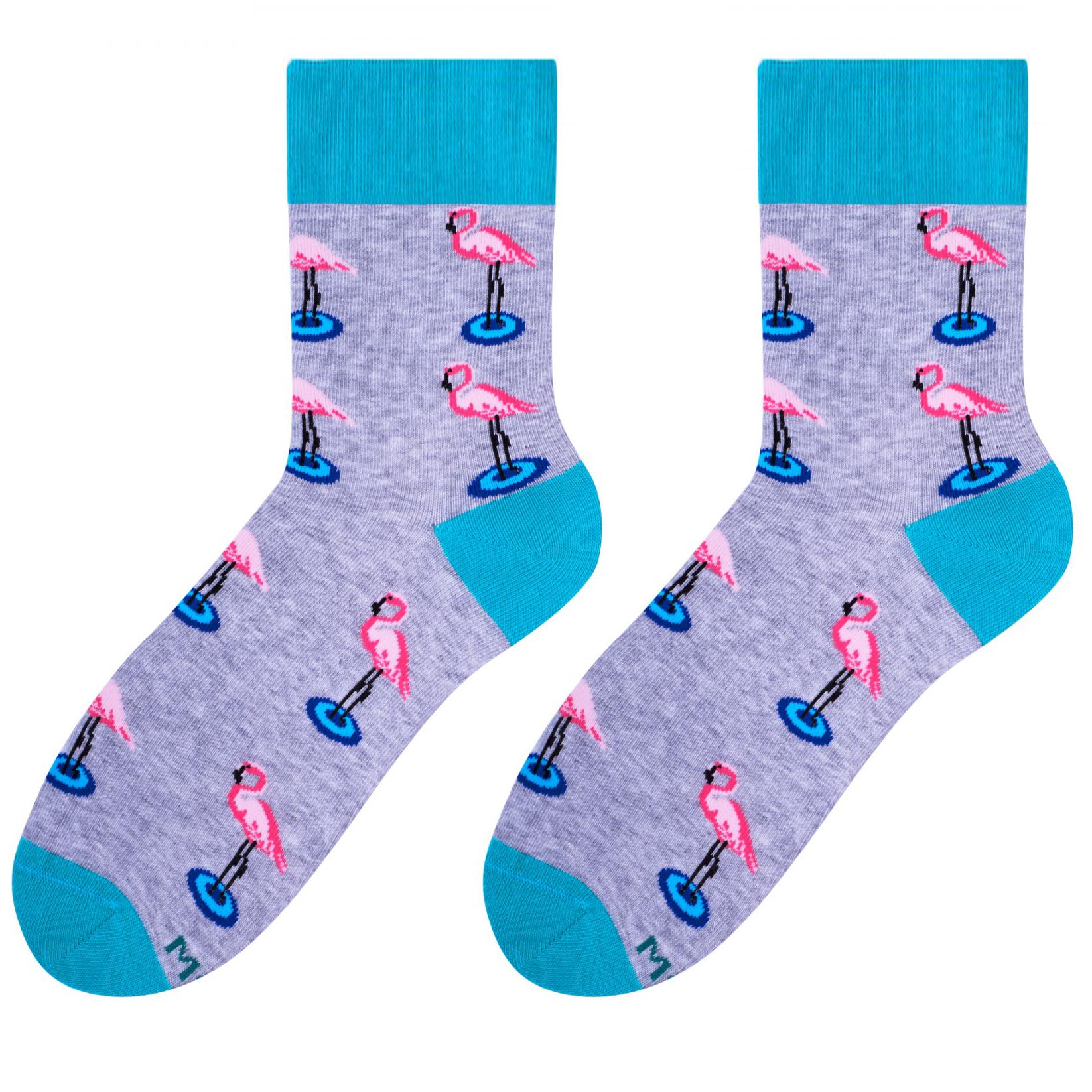 Szare skarpetki - flamingi SK149