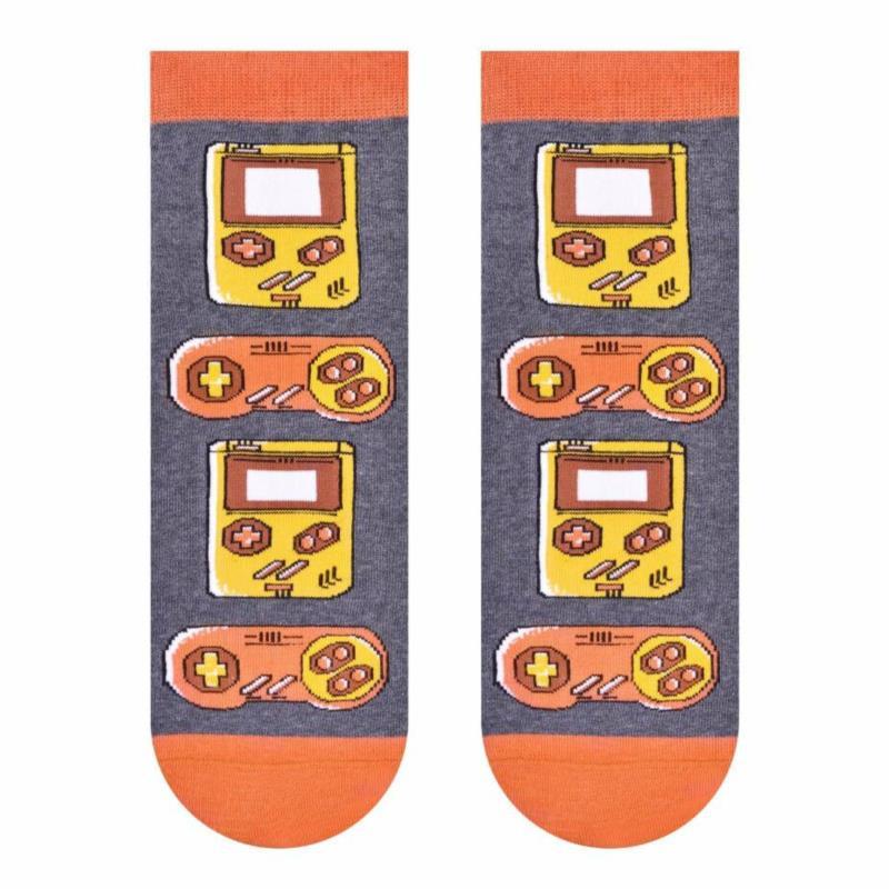 Szare skarpetki/stopki w pomarańczowe i żółte pady SK235