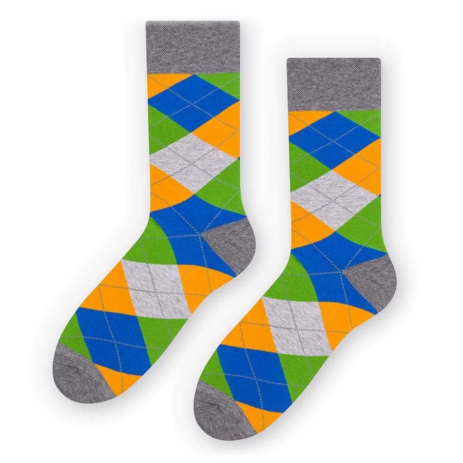 Skarpetki męskie w romby - niebieski, zielony, pomarańczowy SK243