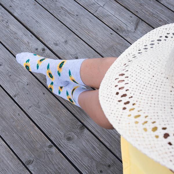 Szare damskie skarpetki w słoneczniki SK119