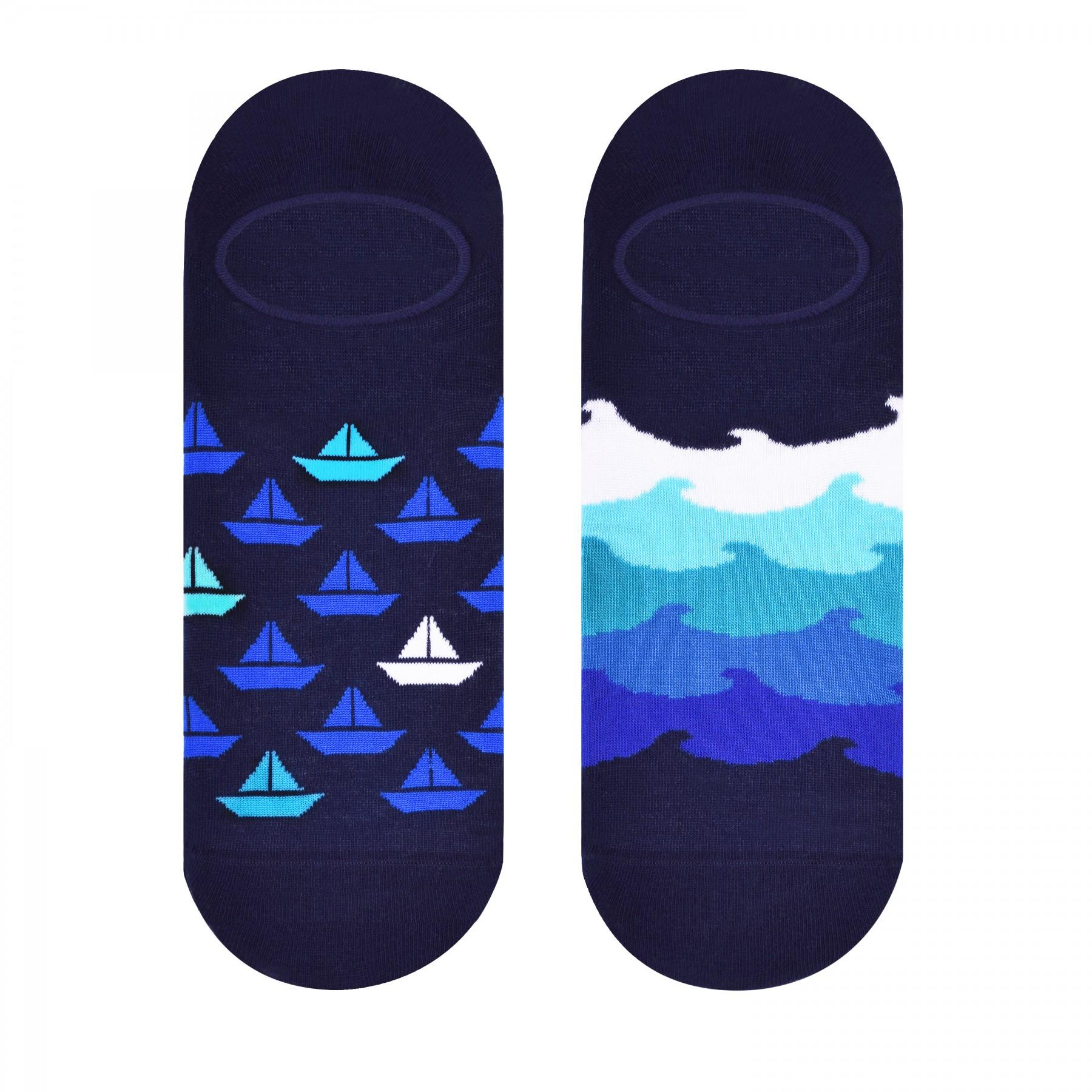 Granatowe skarpetki - stopki męskie w łódki SK98