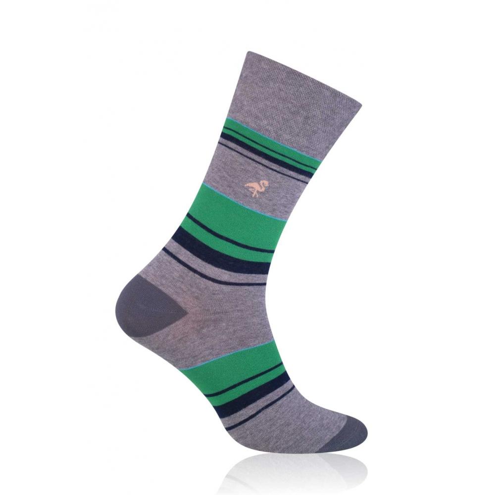 Szare skarpetki w zielono-czarne paski