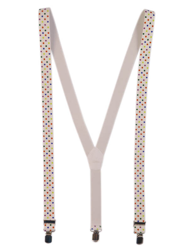 Białe szelki w kolorowe kropki unisex X22