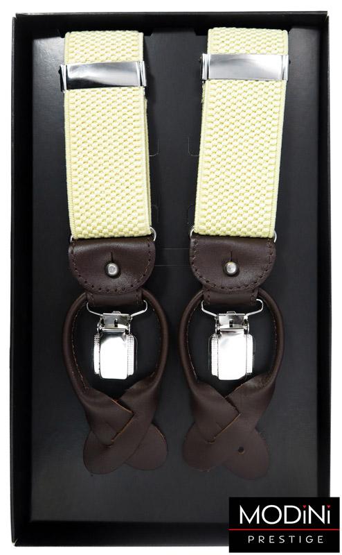 beżowe szelki na guziki z brązowymi skórkami
