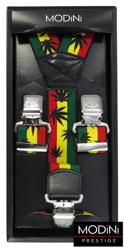 szerokie szelki z kolorowym motywem jamajskim