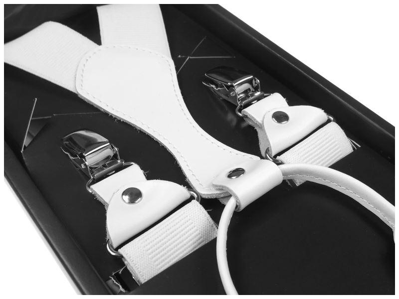 Białe szelki do spodni