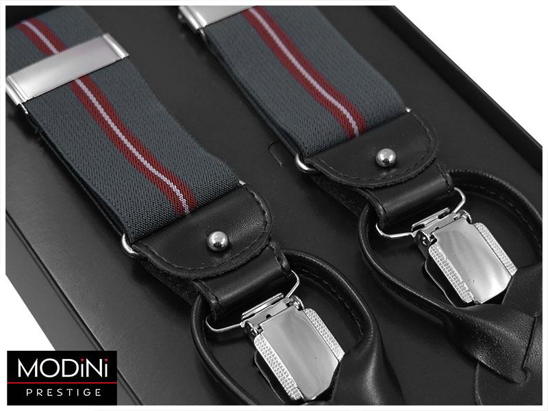 Szare szelki na guziki z czerwonymi paskami G46