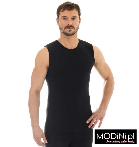 Czarna wełniana koszulka bez rękawów