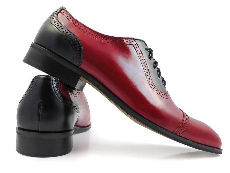 Czerwono-czarne obuwie męskie - spektatory T115