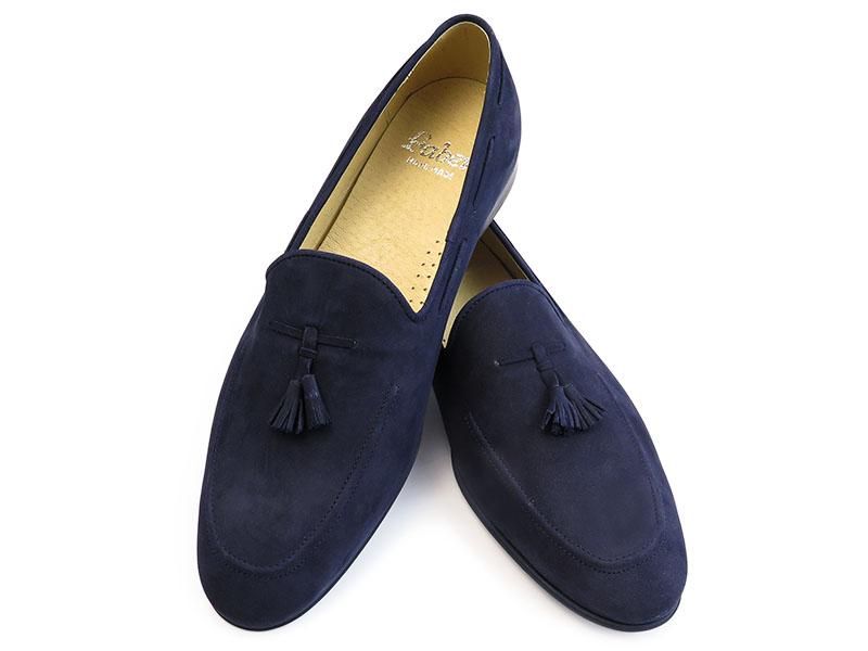 Granatowe wsuwane buty męskie - loafers T121