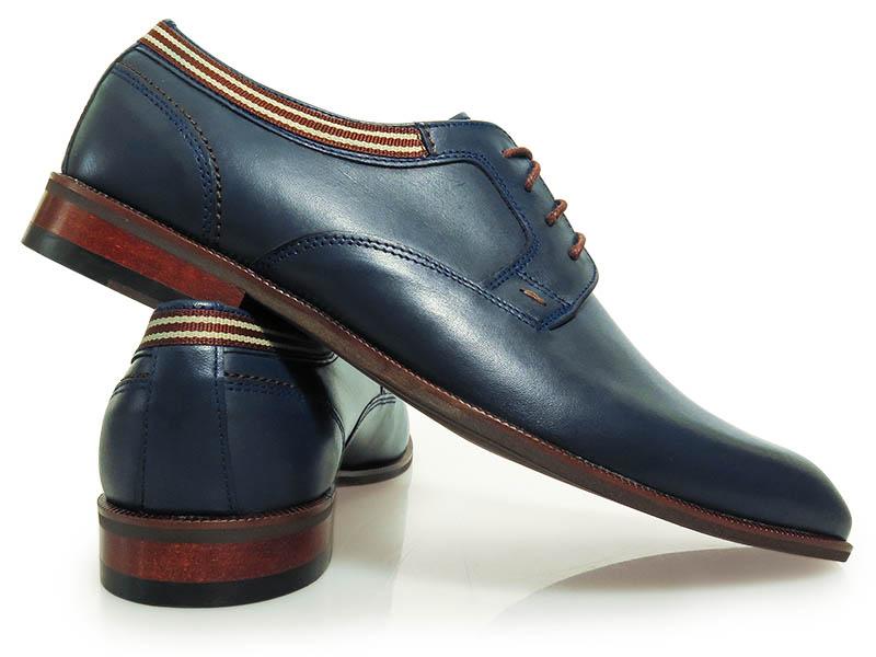 Granatowe buty wizytowe z brązowo-beżowymi wstawkami T127