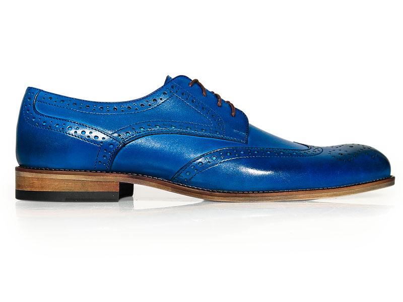 Niebieskie męskie buty wizytowe - brogsy T131