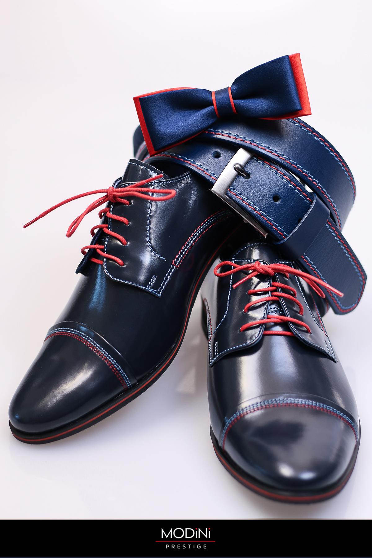 Granatowe buty wizytowe z czerwonymi wstawkami T36