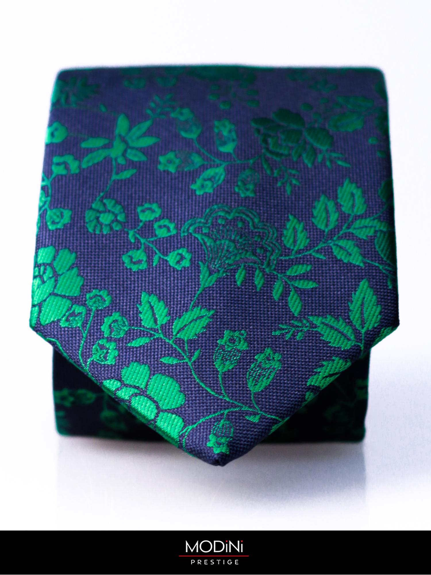 Granatowy krawat męski w zielone kwiaty D178