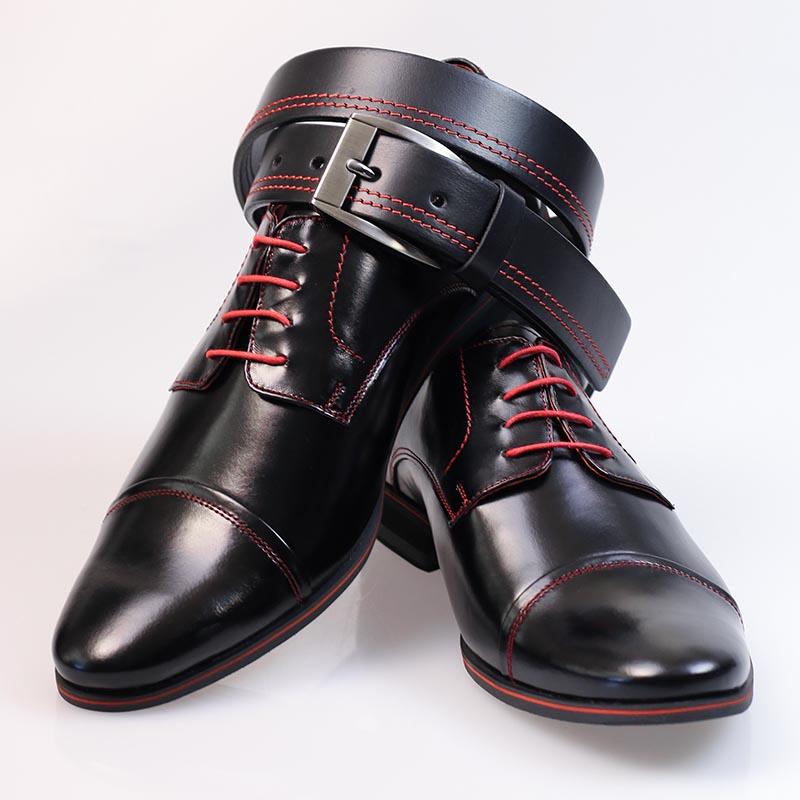 Czarne buty wizytowe z czerwonymi kontrastami T35