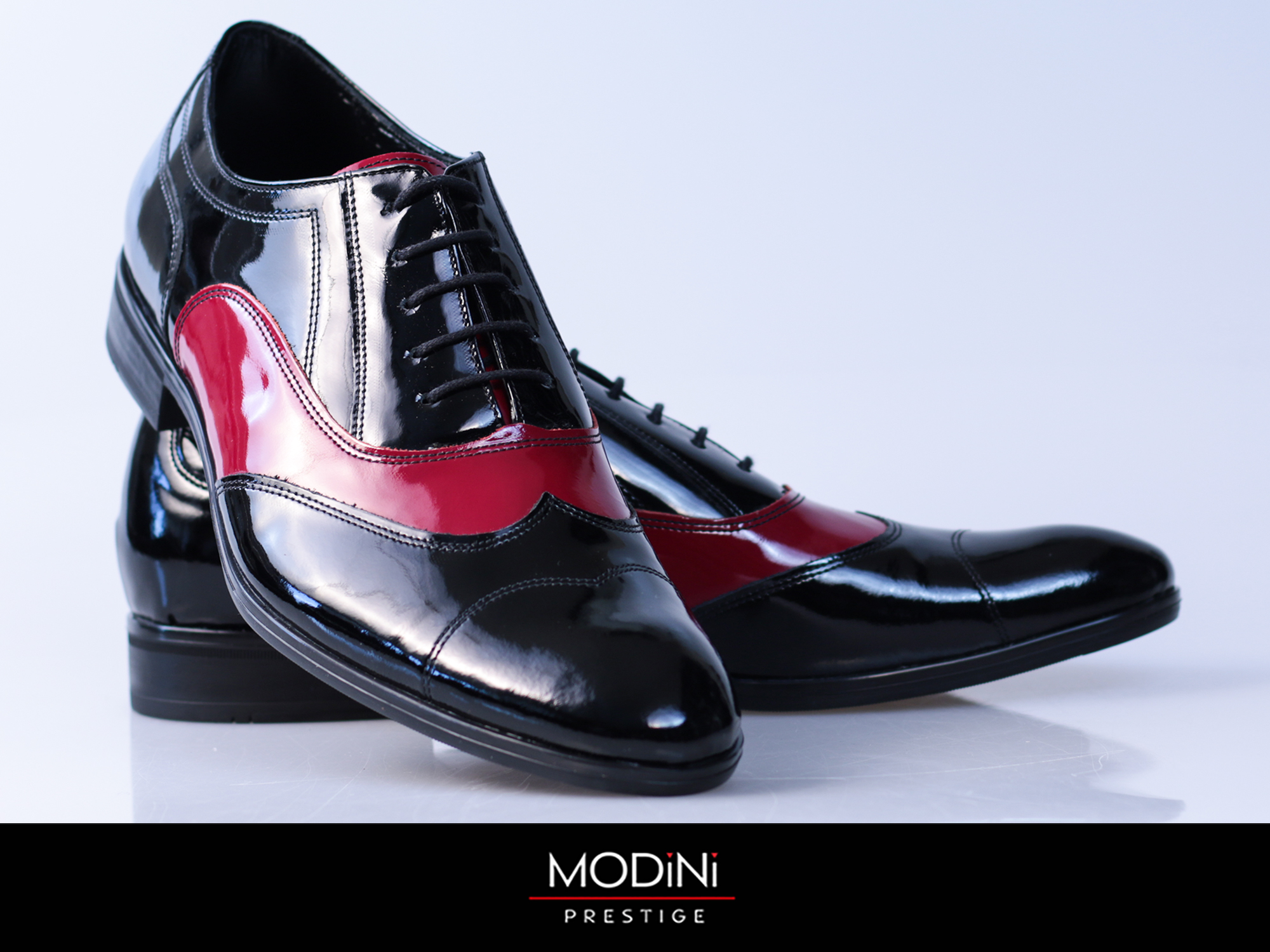 Czarno-bordowe buty wizytowe T99