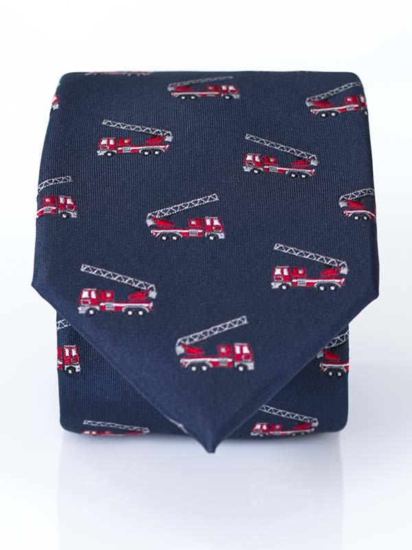 Granatowy krawat męski - wozy strażacki, dla strażaka D176