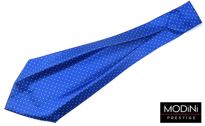 Niebieski fular w białe kropki F17