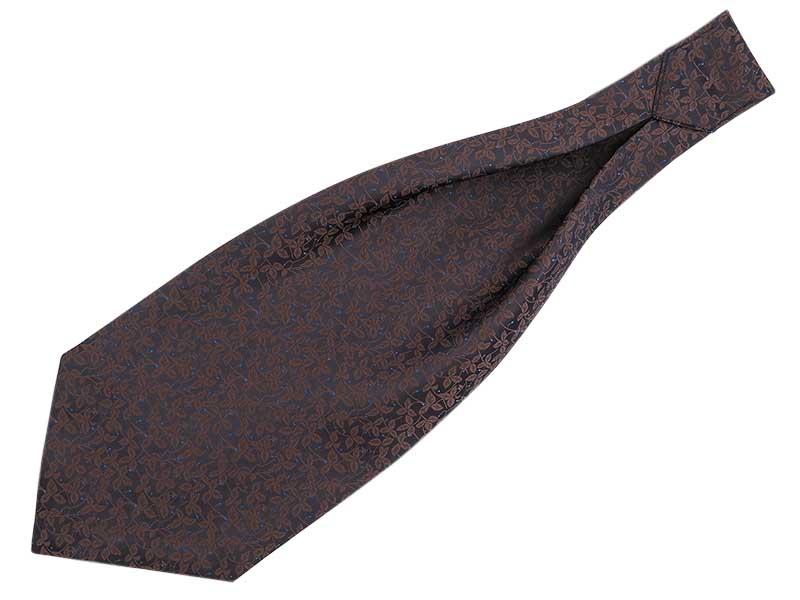 Brązowy fular we florystyczny wzór F110
