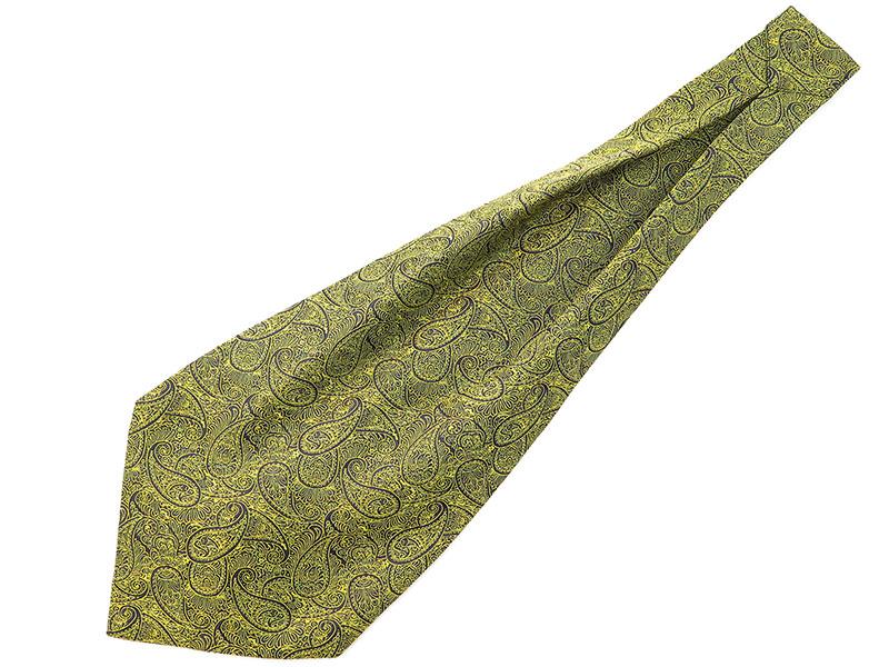 Granatowo-żółty fular w paisley F63