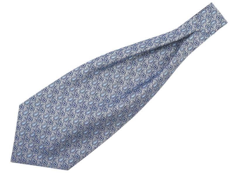 Szary/srebrny fular w błękitny paisley F78