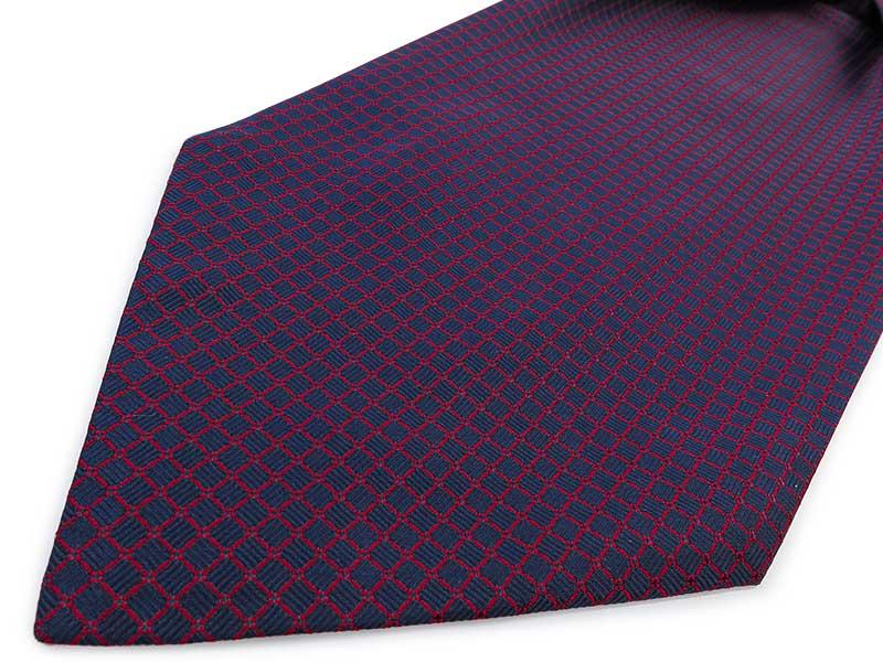 Granatowo-czerwony fular w kratkę F87