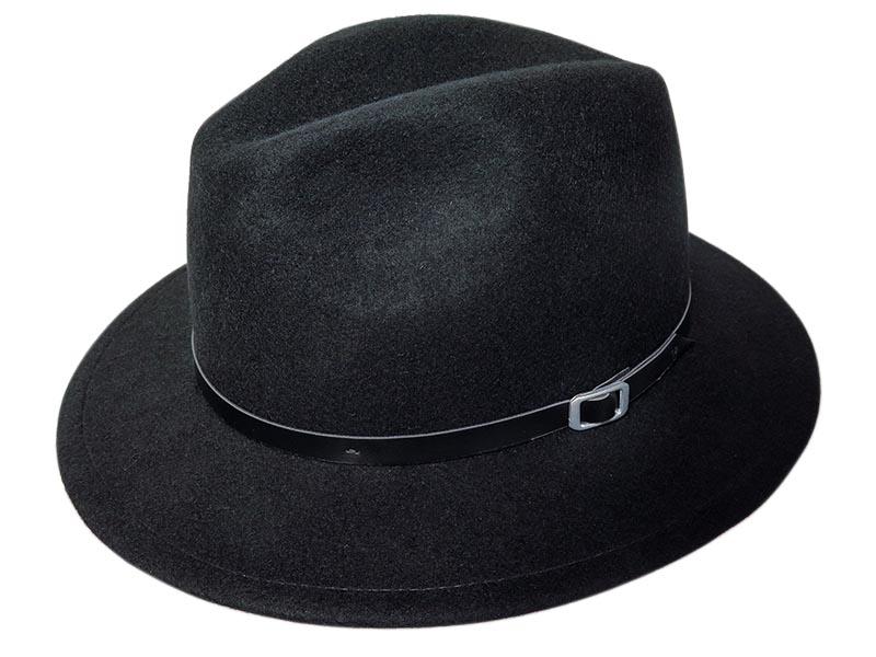 Czarny kapelusz męski z paseczkiem G11