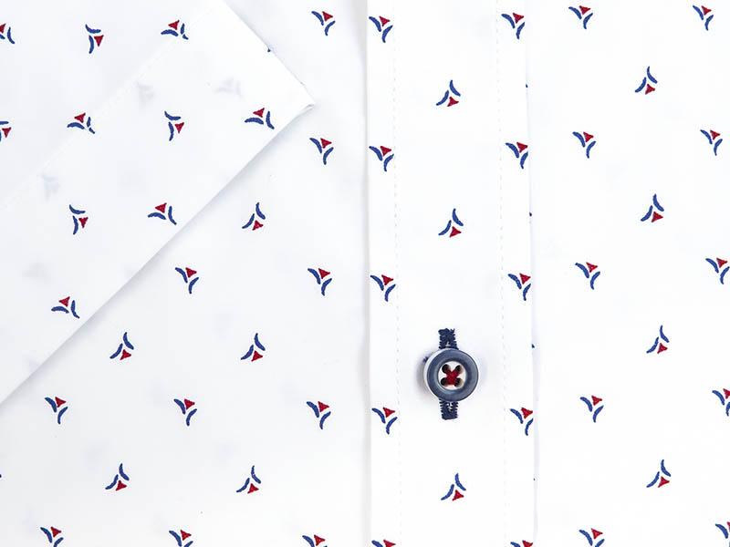 Biała koszula męska z krótkim rękawem z czerwono-granatowym wzorem MK5