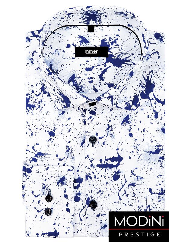 Koszula męska w granatowo-niebieskie plamy 026