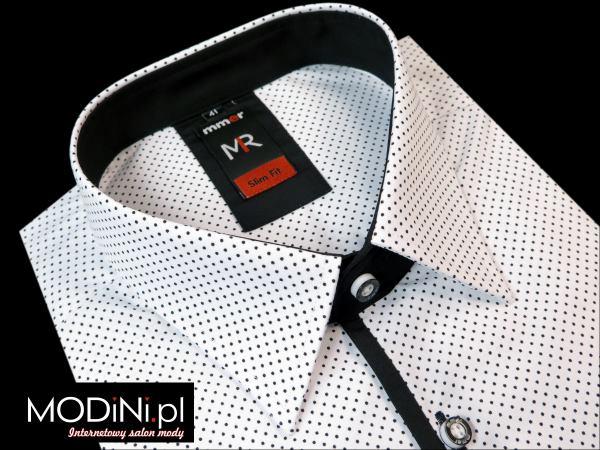 Biała koszula męska w kropki Mmer 763 Rozmiar koszuli i