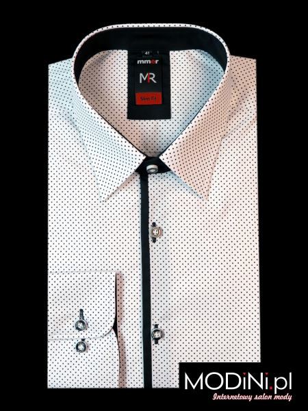 Biała Koszula męska w kropki