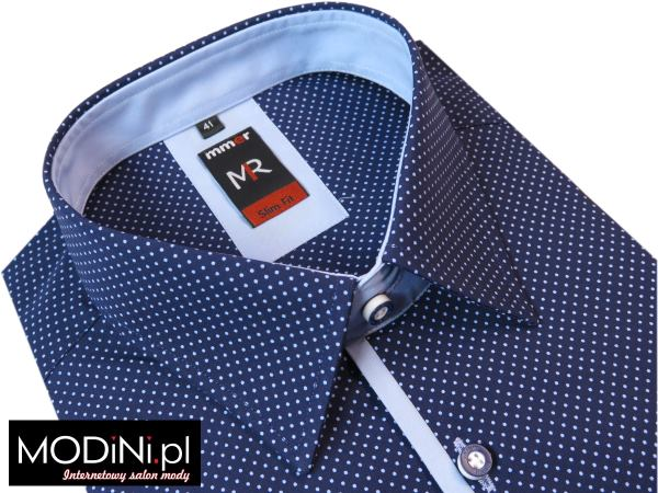 4efb7b3d2aa2 Granatowa koszula w niebieskie kropki