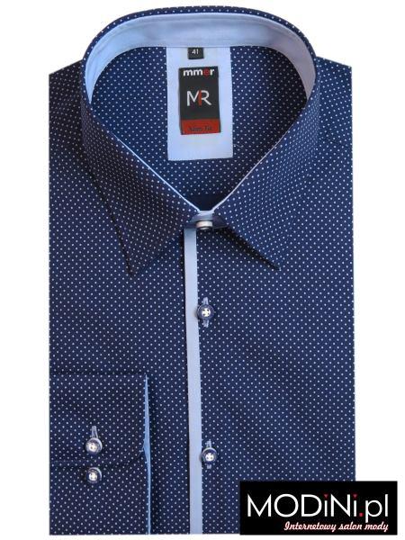 Granatowa koszula w niebieskie kropki