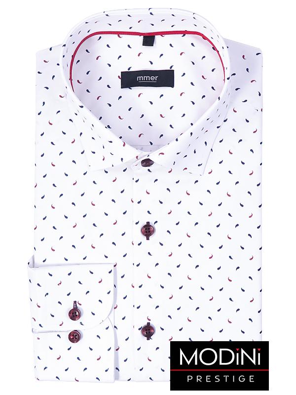 Biała koszula męska we wzór - łezki 313