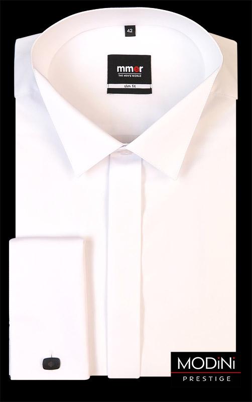 Biała koszula na spinki z łamanym kołnierzykiem Mmer 035
