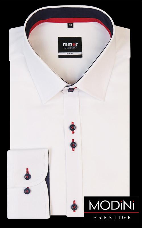 Biała koszula Mmer z czerwono-granatową stójką