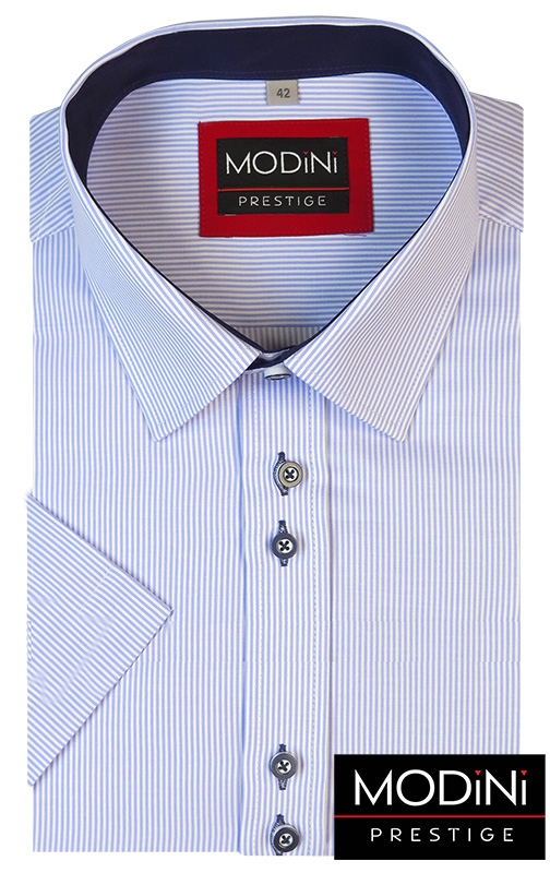 Biało-błękitna koszula na krótki rękaw w prążki