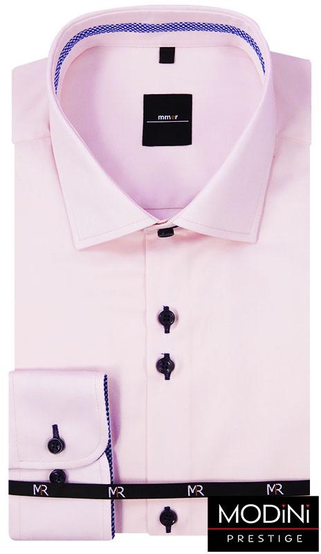 Jasnoróżowa koszula męska z granatowymi kontrastami w kropki 201