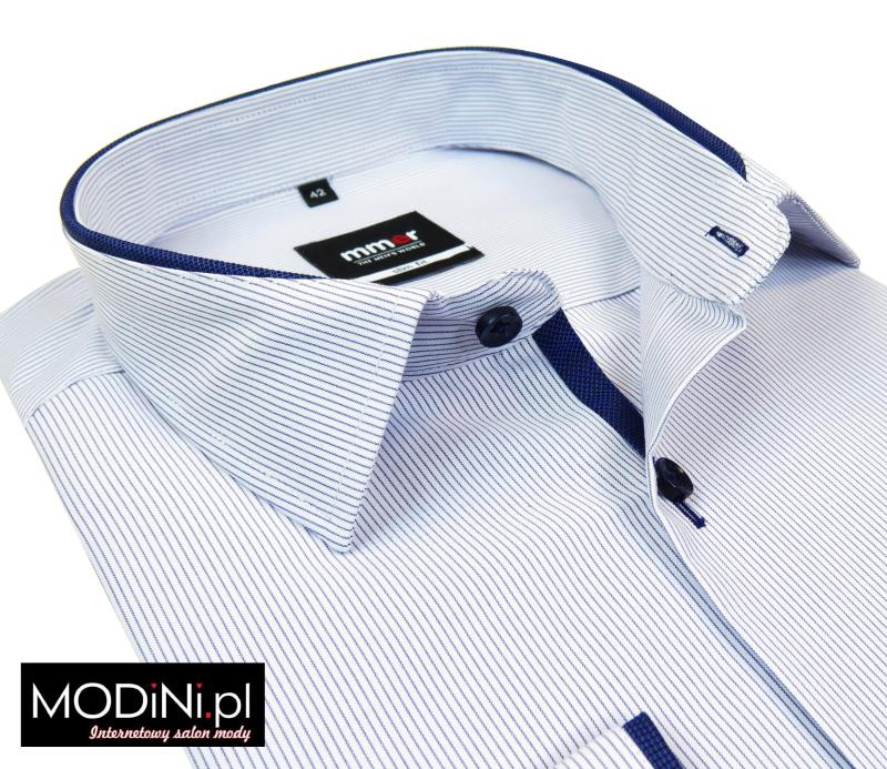 Biała koszula męska SLIM FIT w granatowe prążki 159