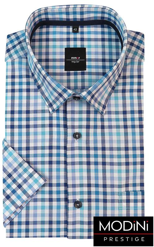 Koszula męska z krótkim rękawem w błękitno-niebieską kratkę