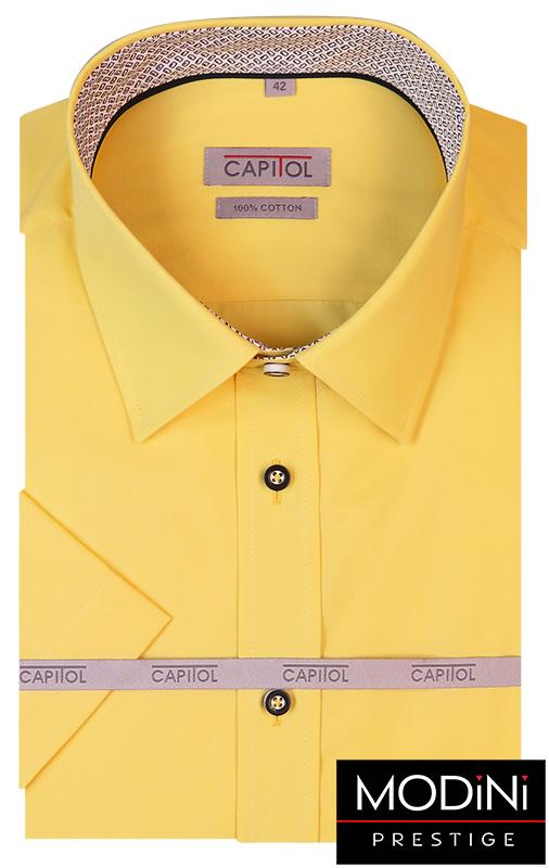 Żółta koszula męska na krótki rękaw