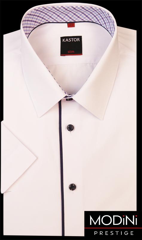 Biała koszula Kastor z krótkim rękawem i granatowymi kontrastami