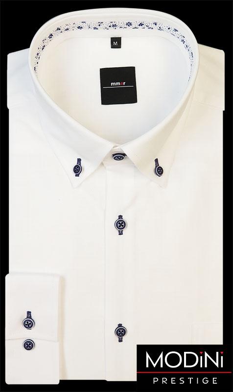 Biała koszula męska z dodatkiem lnu