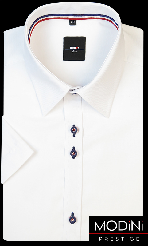 Biała koszula z krótkim rękawem w delikatne prążki i granatowo-czerwoną lamówką
