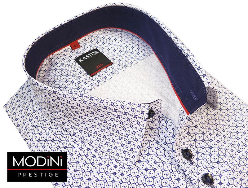 Biała koszula męska Kastor - niebieski wzór