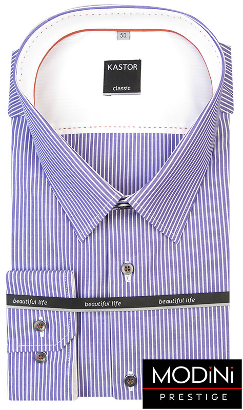 Granatowo-biała koszula w prążki